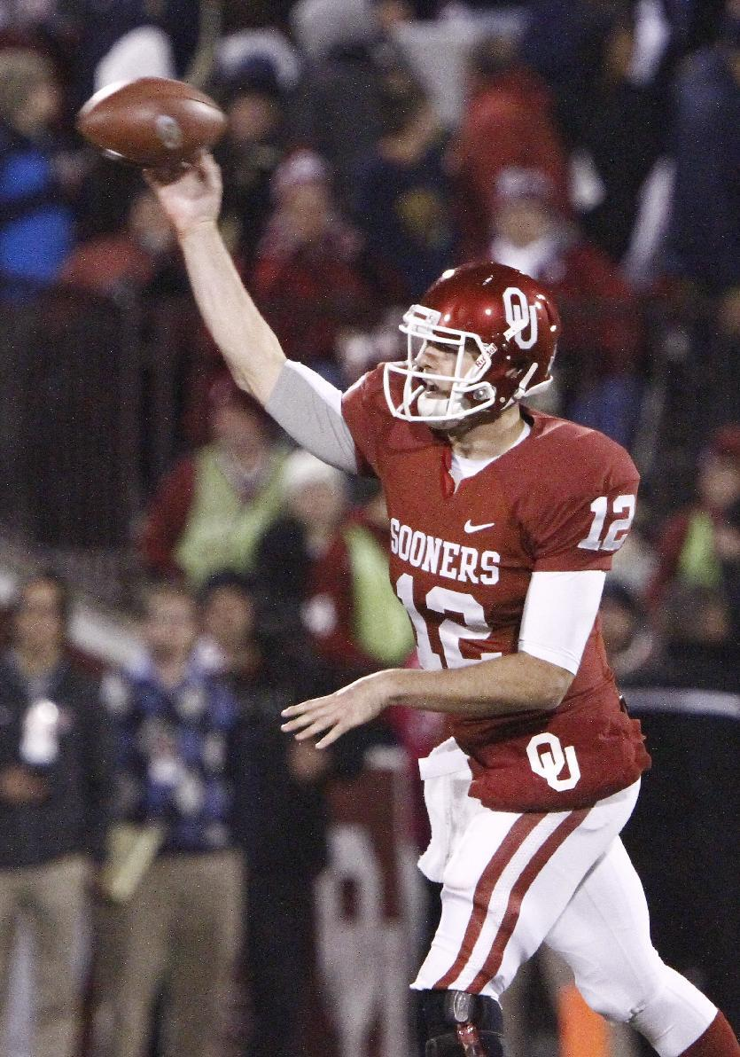 Oklahoma quarterback Landry Jones (12) passes during the third quarter of an NCAA college football game in Norman, Okla., Saturday, Oct. 27, 2012.  (AP Photo/Alonzo Adams)