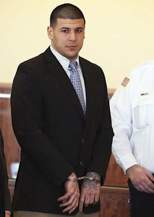 Aaron Hernandez appears for a pre-trial hearing at Bristol County Superior Court in Fall River