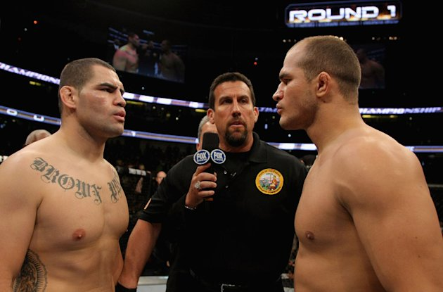 ANAHEIM, CA - NOVEMBER 12: Heavyweight Champion Cain Velasquez faces off with Junior dos Santos before their Heavyweight Championship Title bout during the UFC on FOX event at the Honda Center on November 12, 2011 in Anaheim, California. (Photo by Donald Miralle/Zuffa LLC/Zuffa LLC via Getty Images)