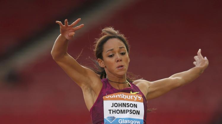 Katarina Johnson-Thompson of Britain competes in the women's long jump during the IAAF Diamond League athletics meeting at Hampden Park in Glasgow