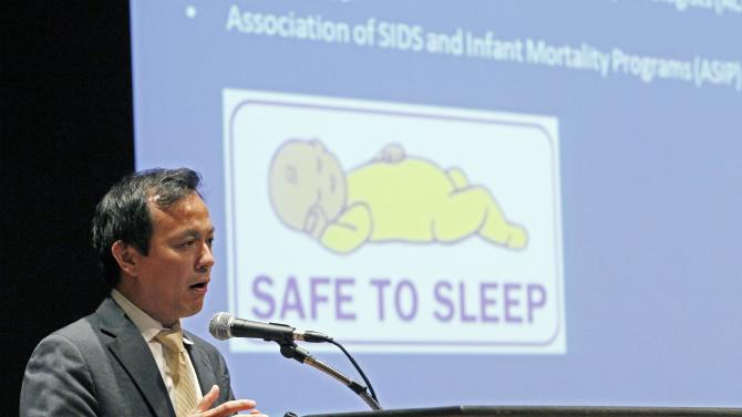 Dr. Michael C. Lu, associate administrator for the Maternal and Child Health Bureau of the Health Resources and Services Administration for the U. S. Department of Health and Human Services, speaks about infant health issues during a  gathering Wednesday, Oct. 17, 2012 in Jackson, Miss., to discuss ways to reduce the state's infant mortality rate, which is the highest in the nation. In 2011, Mississippi had 9.4 deaths per 1,000 live births. The national rate was 6 deaths per 1,000 live births. The statistics are for children who die before reaching their first birthday. (AP Photo/Rogelio V. Solis)