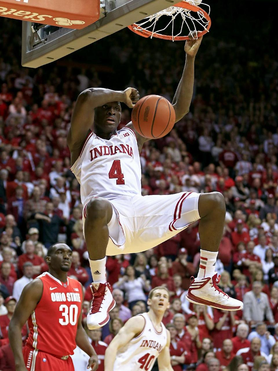 Indiana's Victor Oladipo (4) dunks during the second half of an NCAA college basketball game against Ohio State, Tuesday, March 5, 2013, in Bloomington, Ind. Ohio State won 67-58. (AP Photo/Darron Cummings)