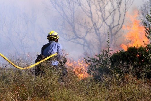 Spanish firefighter tries to extinguish a forest fire near the spanish village of Figueras, by the French border. Hundreds of firefighters, backed by water-bombing planes, battled a wind-fuelled wildfire in northeast Spain that left four French nationals dead and trapped thousands of people indoors.