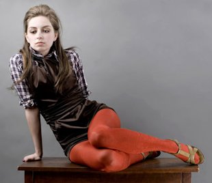 brown jumper orange tights
