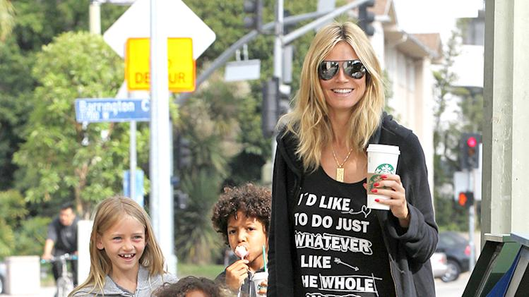 Heidi Klum Takes The Family To Starbucks