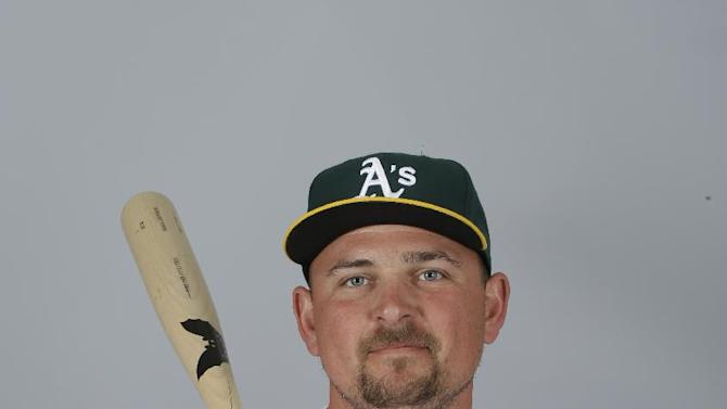 This is a 2015 photo of Billy Butler of the Oakland Athletics baseball team. This image reflects the Athletics active roster as of Feb. 28, 2015, when this image was taken. (AP Photo/Darron Cummings)