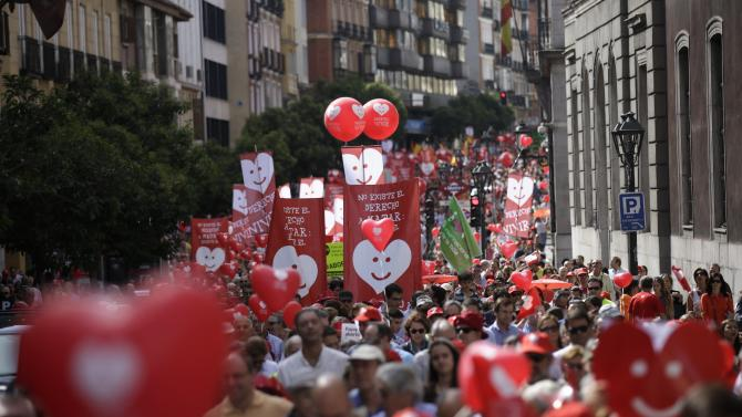 Pro-life demonstrators march against abortion in central Madrid