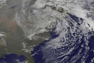 An Oct. 31 satellite image of the remnants of Hurricane Sandy over the Eastern United States.