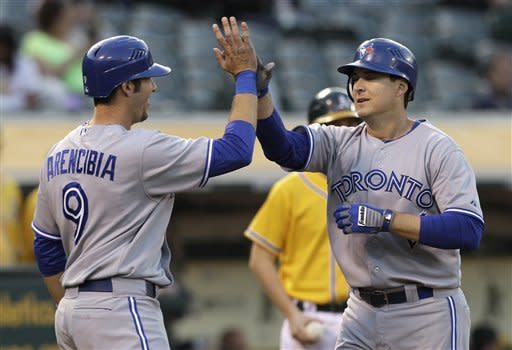 Athletics rally in 9th to beat Blue Jays 7-3
