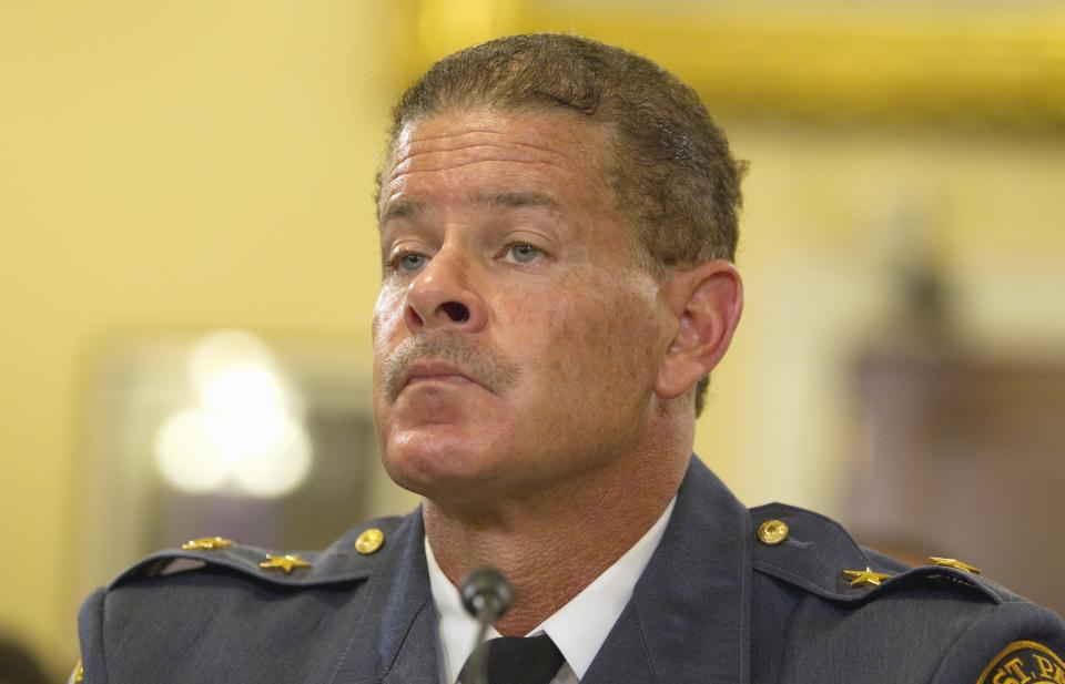 St. Paul, Minn. Police Chief Tom Smith testifies on Capitol Hill in Washington, Wednesday, July 27, 2011, before the House Homeland Security Committee  hearing on Islamic radicalization in the US, focusing on recruitment within the Muslim American community.  (AP Photo/Evan Vucci)