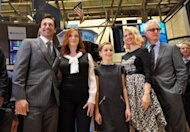"(From L) Jon Hamm, Christina Hendricks, Kiernan Shipka, January Jones and John Slattery, members of the cast of the television show ""Mad Men,"" visit the floor of the New York Stock Exchange, in March. ""Mad Men"" dominated nominations for the primetime Emmy awards once again, a triumph for the 1960s-themed series that almost failed to return for its fifth season"