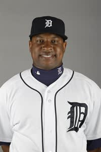 FILE - This is a 2012 file photo showing Delmon Young of the Detroit Tigers baseball team. Young has pleaded guilty to aggravated harassment for shouting an anti-Semitic slur and tackling a man to the ground outside a New York City hotel. The 27-year-old outfielder was ordered to complete 10 days of community service and enroll in a program that teaches tolerance. His lawyer didn't immediately return a call seeking comment Wednesday, Nov. 7, 2012. (AP Photo/Jeff Roberson, File)