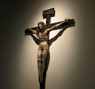 A statue of Jesus on the cross at the Cathedral Basilica of Saint Francis in Santa Fe, NM.