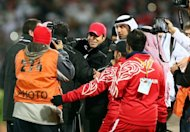 Mahdi Ali (C), coach of the UAE team, is congratulated after his team beat Kuwait at the Gulf Cup on January 15, 2013. &quot;Iraq are very tough opponents but our team has improved to a higher level in each match. We are ready,&quot; Ali said of Friday&#39;s clash against Iraq