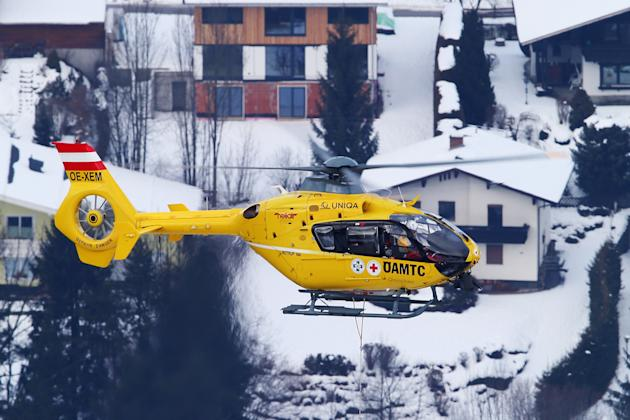 Lindsay Vonn of the United States of America is airlifted off the mountain after crashing while competing in the Women's Super G event during the Alpine FIS Ski World Championships on February 5, 2013