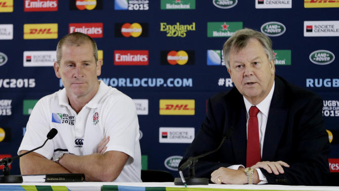 RFU chief executive Ian Ritchie (R) and England head coach Stuart Lancaster during the press conference