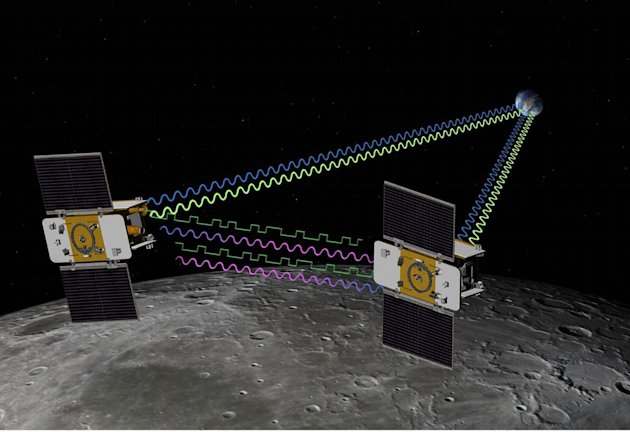 This artist rendering released by NASA shows the twin spacecraft Ebb and Flow orbiting the moon. The duo found evidence that the moon's interior is more battered than previously thought and the crust