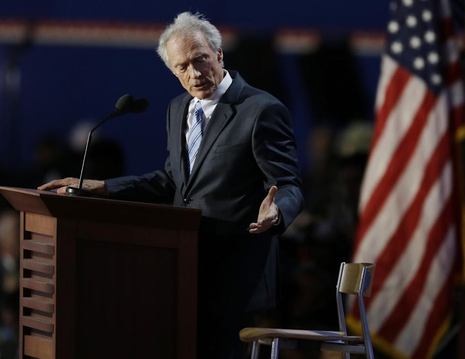 Actor Clint Eastwood speaks to an empty chair while addressing delegates during the Republican National Convention in Tampa, Fla., on Thursday, Aug. 30, 2012. (AP Photo/Lynne Sladky)