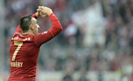 Bayern Munich's French midfielder Franck Ribery celebrates after his goal during the Bundesliga match against Eintracht Frankfurt. The league leaders' 2-0 win kept them seven points clear at the top of the table