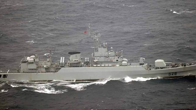 Chinese warships cross waters near Japan island