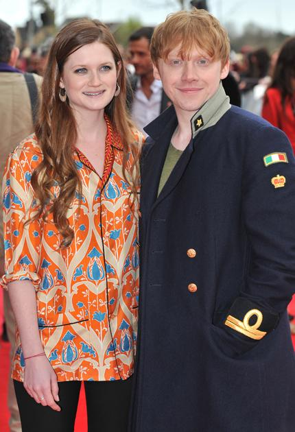 Harry Potter premiere: On-screen siblings Rupert Grint and Bonnie Wright are now red-carpet Potter pros.