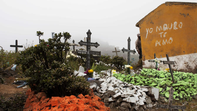 Graves are decorated with freshly painted stones at the Virgen de Lourdes cemetery, where many are gathering to mark the Day of the Dead holiday, in Lima, Peru, Friday, Nov. 2, 2012.  Friends and families converge in cemeteries to decorate their loved ones graves and keep vigil during the two-day holiday that begins Nov. 1, coinciding with All Saints Day and All Souls' Day on Nov. 2. (AP Photo/Rodrigo Abd)