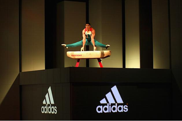 Gymnast Louis Smith On Stage At The Official British Team Kit Launch For The London 2012 Olympic And Paralympic Games, Getty Images for adidas