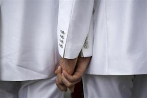 Russian same-sex couple Gavrikov and Lysak arrive at a registry office to apply for marriage licences in St. Petersburg