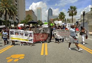 Protesters make their way down Bay Street as they head …