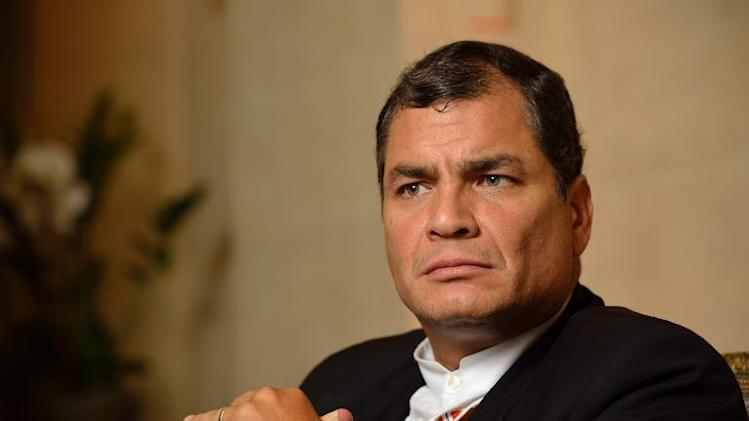 Ecuador President Rafael Correa poses during an interview in an hotel on November 7, 2013 in Paris