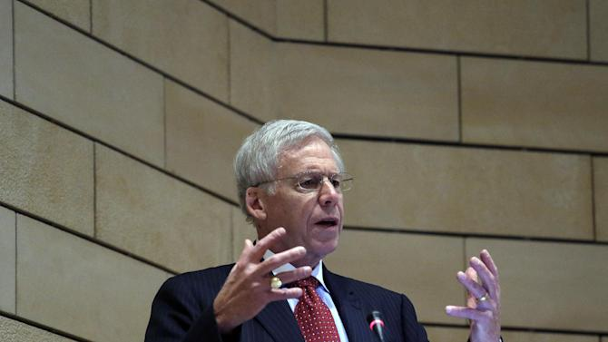 """Charles Dallara, head of Greece's bondholders lobbying group, the Institute of International Finance, delivers a speech at the National Bank of Greece, hosted by the Greek Banks Association in Athens on Wednesday Nov. 14, 2012. Charles Dallara has praised Greece's recently approved austerity package, saying it provides a """"comprehensive framework for reform."""" Charles Dallara, managing director of the Institute of International Finance, said Greek governments had shown """"impressive willingness to bear short-term pain for long-term gain"""" in passing a major round of new cuts. They were approved last week and are worth €13.5 billion ($17 billion). (AP Photo/Dimitri Messinis)"""