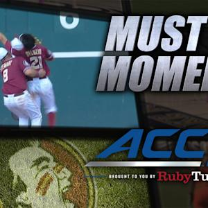 FSU's DeLuzio Collides With Stewart & Makes Catch | ACC Must See Moment