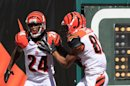 Cincinnati Bengals' Adam Jones (24) is congratulated by Marvin Jones (82) after returning a punt 81 yards for a touchdown in the first half of an NFL football game on Sunday, Sept. 16, 2012, in Cincinnati. (AP Photo/David Kohl)