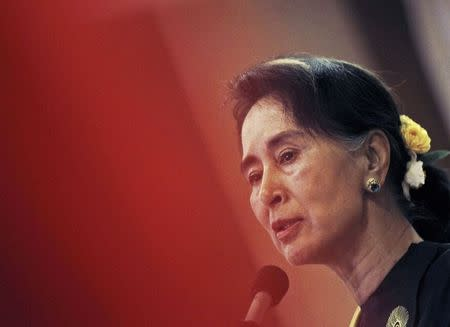 Myanmar's opposition leader Aung San Suu Kyi speaks at the National League for Democracy Party's central comity meeting in Yangon