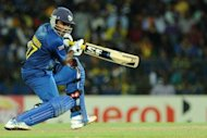 Sri Lankan captain Mahela Jayawardene plays an early shot in the Twenty20 semi-final against Pakistan in Colombo. Hosts Sri Lanka defeated Pakistan by 16 runs on Thursday to reach the World Twenty20 final in Colombo