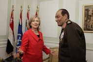 <p>Hillary Clinton meets Hussein Tantawi, heads of Egypt's powerful military council, in Cairo in March. Clinton is stepping into the political maelstrom of a complex power struggle between President Mohamed Morsi and the Supreme Council of the Armed Forces (SCAF).</p>