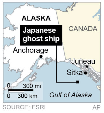 Map locates a ghost ship dislodged by the Japan tsunami, off the coast of Sitka in the Gulf of Alaska.
