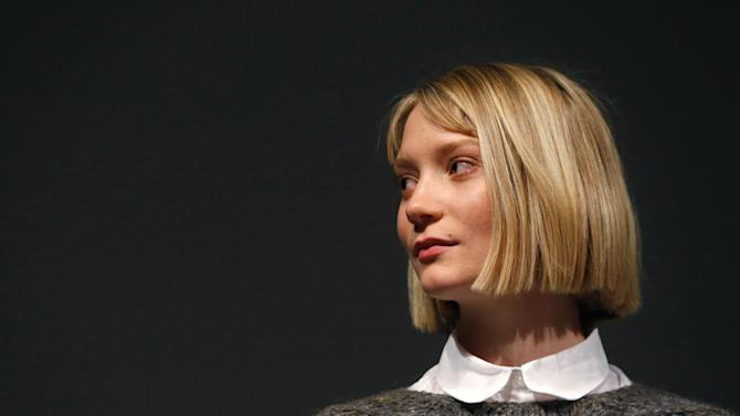 """Actress actress Mia Wasikowska speaks onstage at Fox Searchlight's """"The Stoker"""" premiere during Sundance Film Festival on Sunday, Jan. 20, 2012 in Park City, Utah. (Photo by Todd Williamson /Invision for Fox Searchlight/AP Images)"""