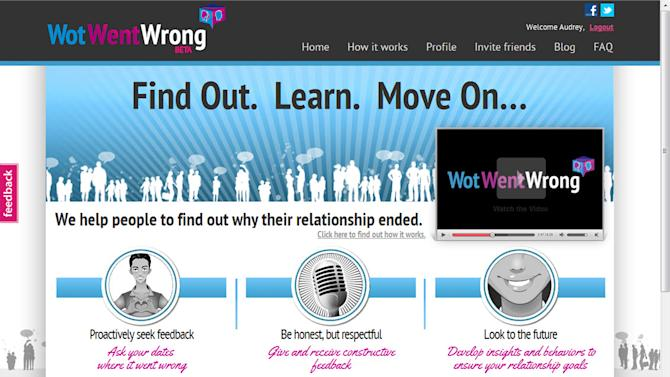 This undated frame grab provided by WotWentWrong.com shows the company's home page on its website. Online dating sites and apps for hooking up on the go are abundant. But breakup tech hasn't kept pace. The latest entrant is WotWentWrong, brand new for dumpees in search of feedback from their formers after a first date fails to produce a follow-up call or budding love dies on the vine without explanation. (AP Photo/WotWentWrong.com)