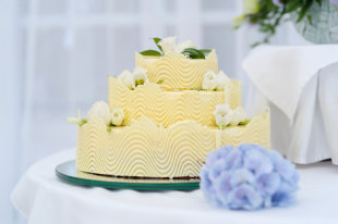 Yellow Cake with Baby Blue Accents