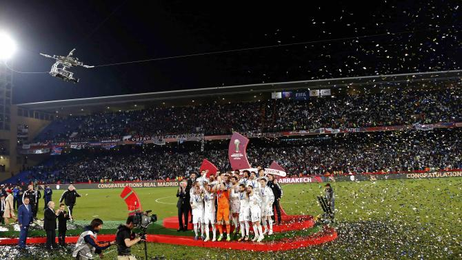 Real Madrid celebrate winning the Club World Cup final soccer match against San Lorenzo at Marrakesh