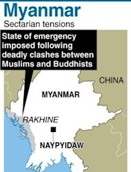 Graphic showing Rahkine state in Myanmar where emergency rule has been imposed after deadly clashes between Muslims and Buddhists