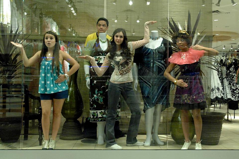 Ally (Nina Dobrev) and friends hide from security in The American Mall.