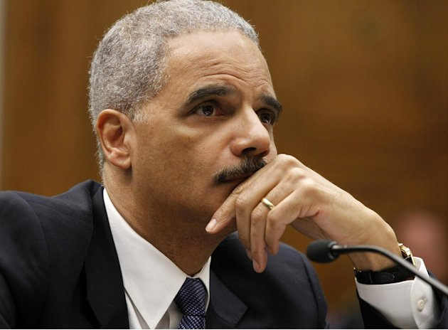 Attorney General Eric Holder testifies on Capitol Hill in Washington, Thursday, June 7, 2012, before the House Judiciary Committee oversight hearing on the Justice Department.  (AP Photo/Charles Dhara