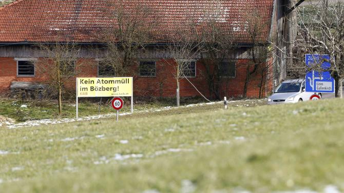 """A banner which reads, """"No nuclear waste at Boezberg!"""" is seen in Boezberg"""