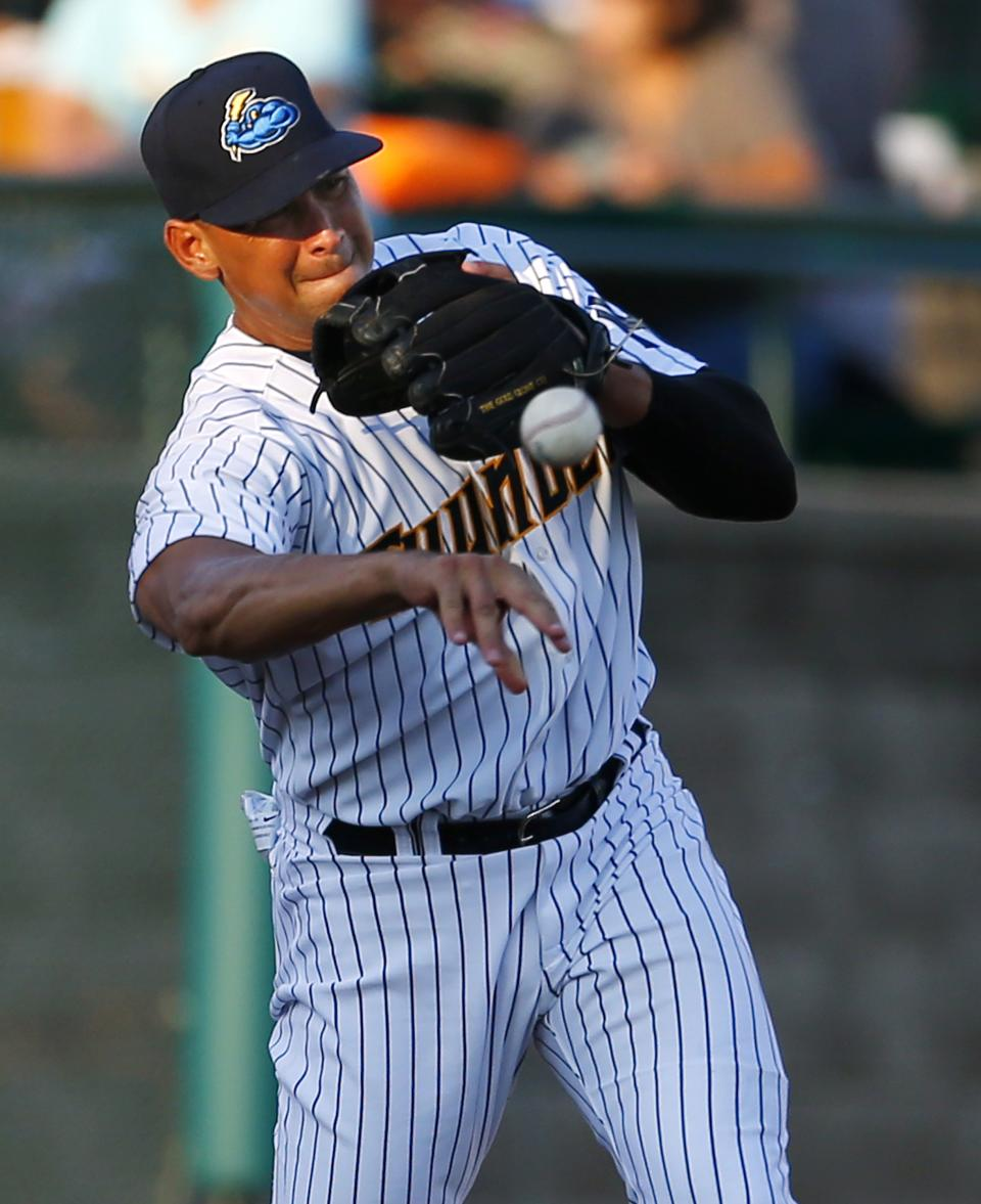 New York Yankees third baseman Alex Rodriguez (13) throws to second base to start a double during the first inning of a Class AA baseball game with the Trenton Thunder against the Reading Phillies Saturday, Aug. 3, 2013, in Trenton, N.J. (AP Photo/Rich Schultz)