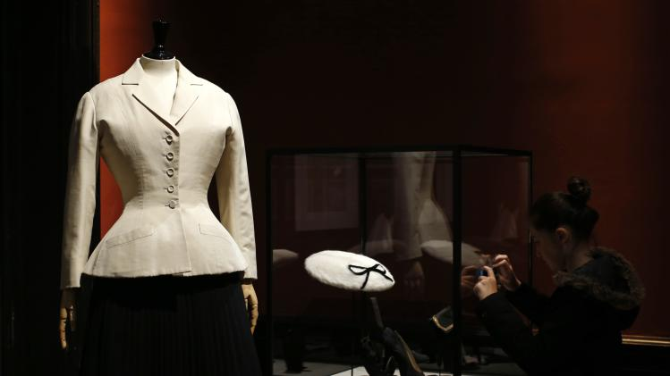 "A vintage dress by designer Christian Dior is presented in the exhibition ""Les Annees 50, La mode en France"" at the Palais Galliera fashion museum in Paris"