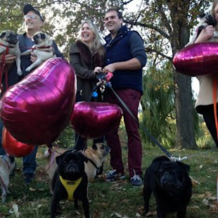 Post-engagement photos with the thrilled dog lovers.