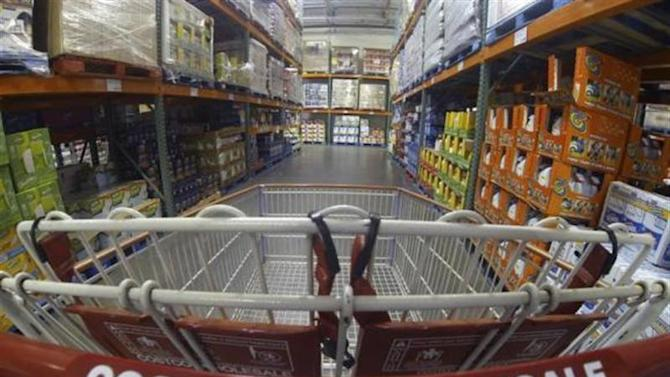 A Costco shopping cart is shown at a Costco Wholesale store in Carlsbad, California