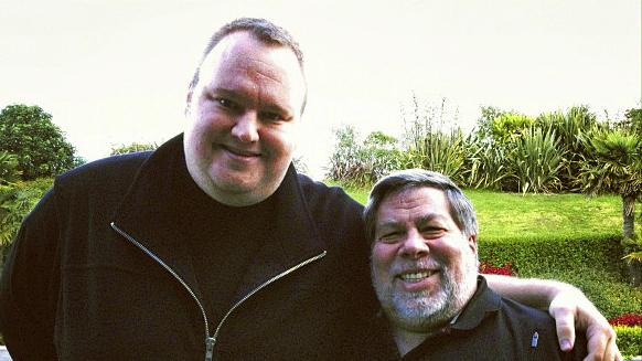 "In this May 2012 photo released by Kim Dotcom, Apple cofounder Steve Wozniak, right, and Kim Dotcom, founder of file-sharing site Megaupload, stand together in Auckland, New Zealand. Wozniak said the U.S. piracy case against Dotcom is ""hokey"" and a threat to Internet innovation. Wozniak and Dotcom spoke out against the federal case in separate interviews on Wednesday, June 27, 2012. (AP Photo/Kim Dotcom)"